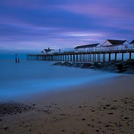 Deep Blue by Simon Talbot-Hurn - Landscapes Beaches ( east coast, southwold, water, suffolk, pier, long exposure, beach, landscape )