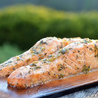 Cedar Plank Salmon with Lemon, Garlic & Rosemary