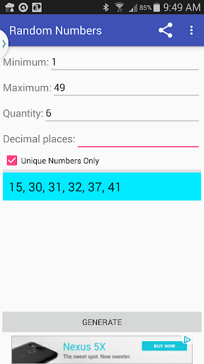 Random Numbers Generator