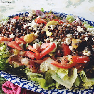 Greek Salad with Lemon Oregano Lentils.