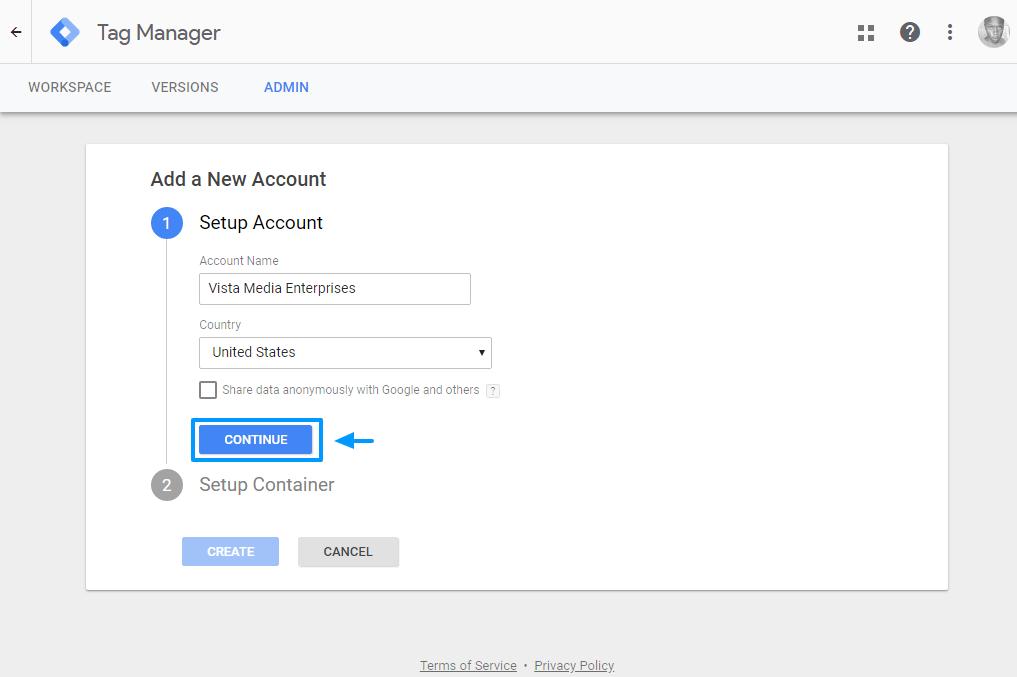 tạo tài khoản quản lý thẻ google mới