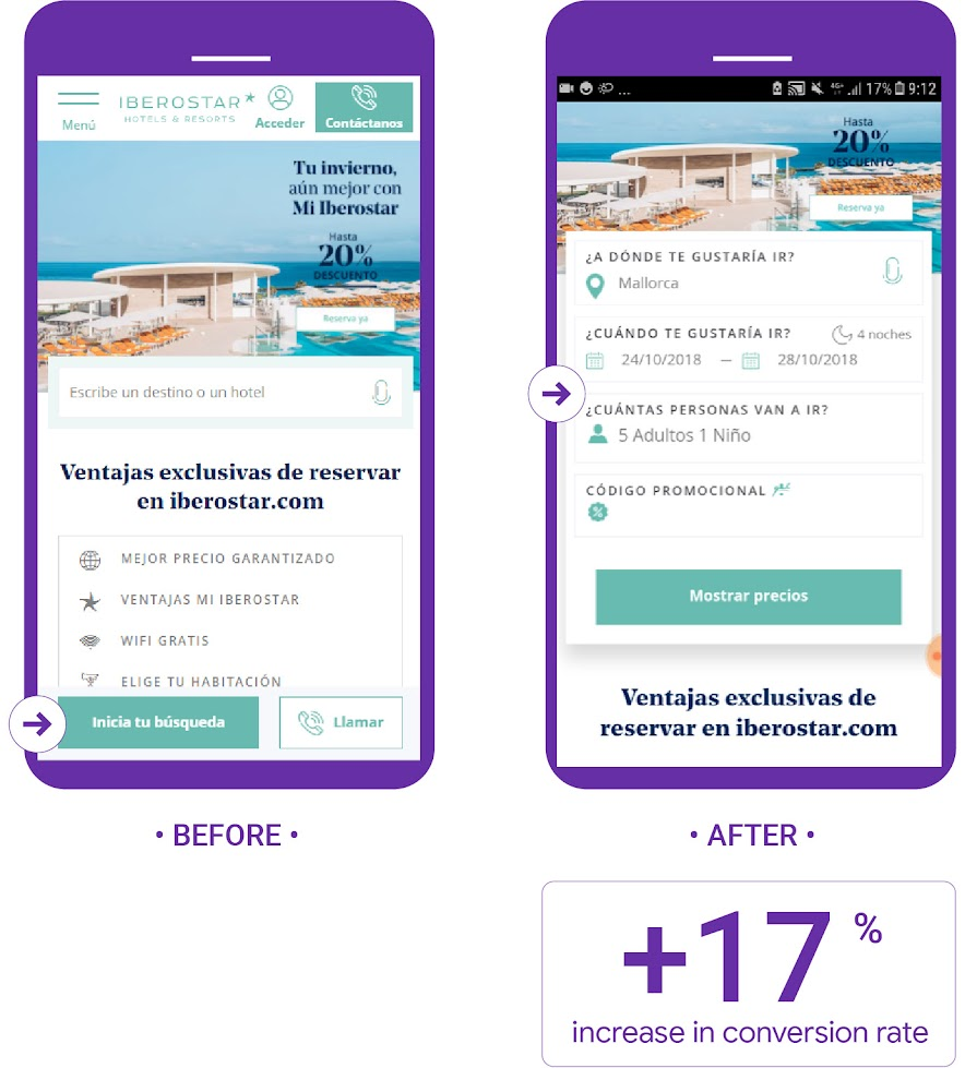 Iberostar tested moving up the fastbooking on mobile