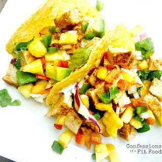 21 Day Fix Grilled Pork Tacos with Avocado Peach Salsa.
