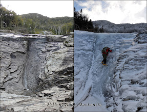Photo: Seasonal comparison near the confluence of the slide tributaries on Bennies Root Canal.