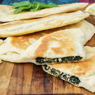 Spinach, Mint and Pine Nut Gözleme (Turkish Savory Pastry).