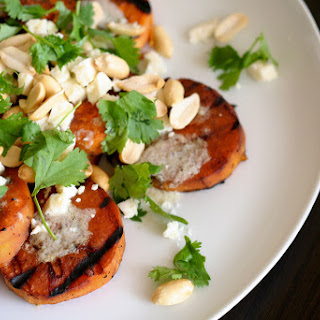 Grilled Sweet Potatoes with Peanut & Lime Tahini Dressing