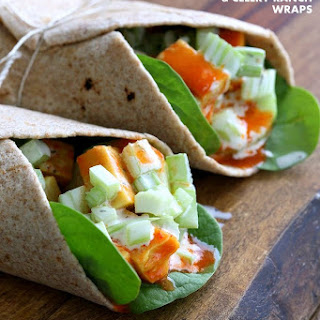 Buffalo Tofu Wrap Recipe with Chickpea Tofu.