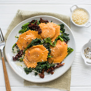 Sweet Bell Pepper Ravioli with Broccoli Rabe Recipe