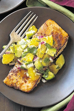 Honey glazed salmon with avo and citrus salsa.