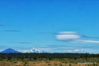 Photo: Black Butte and Mt. Jefferson with lenticular clouds, seen from Tumalo Reservoir, NW of Bend, OR