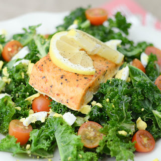 Lemon Tossed Kale Salad with Salmon