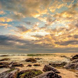 Sunrise in Amores Beach by Rqserra Henrique - Landscapes Beaches ( sunrise, rocks, beach, clouds, wave, rqserra )