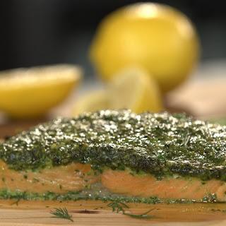 Herb Coated Cedar Plank Salmon.