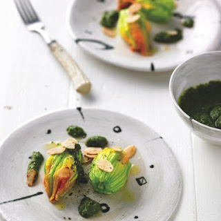 Stuffed courgette flowers with Taleggio, courgette pesto & toasted almonds.