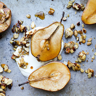 Maple Roasted Pears with Yogurt and Maple-Nut Clusters