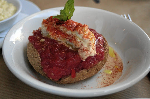 Cretan dakos rusk with tomato and feta. Picture: MADELEINE MORROW