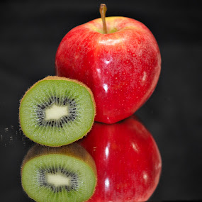 gala kiwi by Debra Lynde - Food & Drink Fruits & Vegetables ( mirror, kiwi half, gala, apple, pwcfruit )
