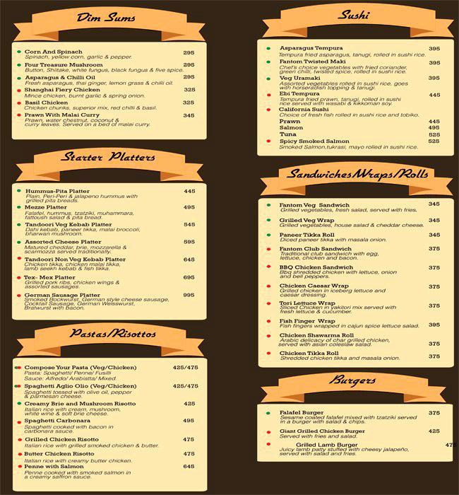 Fantom menu 2