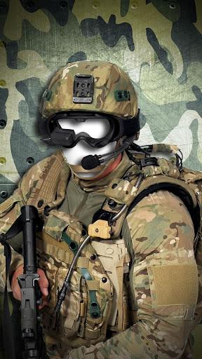 現代の兵士フォトモンタージュ