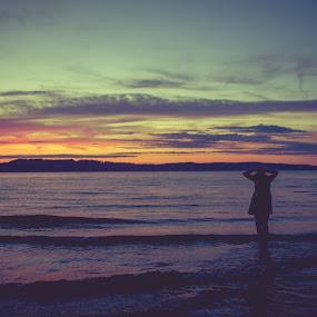 Wading in the sunset by Bethany McGregor - People Street & Candids ( senior, mukilteo, puget sound, sunset, washington,  )