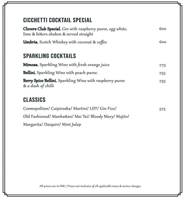 Cicchetti menu 8