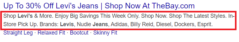 "Meta description for ""levis jeans"" keyword Google search."