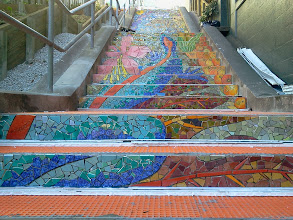 Photo: Salamander (blue body with red stripe) extending up the fifth and fourth flights of steps (from top) on the Hidden Garden Steps (16th Avenue, between Kirkham and Lawton streets in San Francisco's Inner Sunset District) installed on October 30, 2013. KZ Tile workers finished installing more than 50 pieces of the 148-step ceramic-tile mosaic designed and created by project artists Aileen Barr and Colette Crutcher. For more information about this volunteer-driven community-based project supported by the San Francisco Parks Alliance, the San Francisco Department of Public Works Street Parks Program, and hundreds of individual donors, please visit our website at http://hiddengardensteps.org.