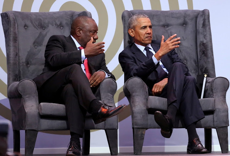 President Cyril Ramaphosa talks to former US president Barack Obama at the 16th Nelson Mandela annual lecture. There was beauty in listening to Obama, but here in SA we are running out of time. Ramaphosa's New Dawn needs to become tangible.