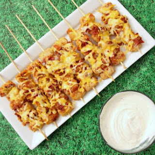 Loaded Tater Tot Skewers.