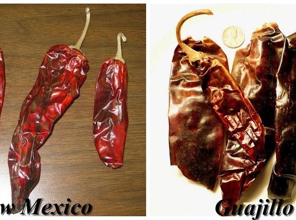 Remove the seeds and stems from three dried peppers, I use New Mexico mild...