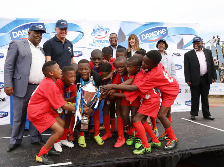 The Nomlinganiselo Primary under-12s after winning the Danone Nations Cup national title at Dobsonville Stadium in 2018.