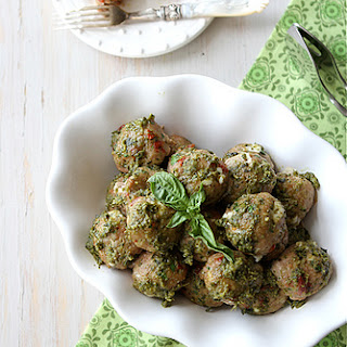 Baked Caprese Turkey Meatball Recipe with Sun-Dried Tomatoes, Mozzarella & Basil Pesto
