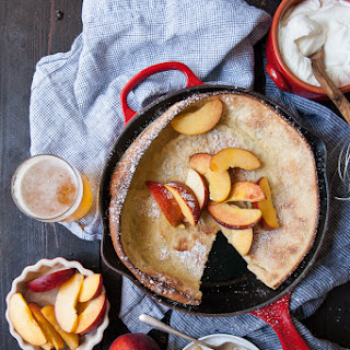 Beer Dutch Babies Oven Pancakes with Peaches and Cream Recipe