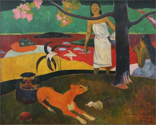 """paul-gaughin-pastoral-tahitiennes.jpg -  Paul Gaughin, """"Pastorales tahitienes,"""" 1892, oil on canvas."""