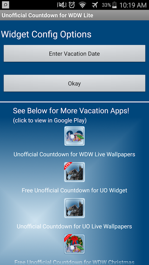 Unoffic Countdown 4 Disney Wdw Android Apps On Google Play