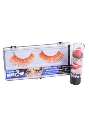 Ögonfransar och läppstift, orange