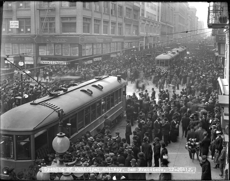 """1912 photo of opening day of SF Municipal Railway.  Links to blog post """"105th Year in Review"""""""
