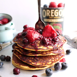 Vegan {egg-less & Dairy Free} Almond Pancakes & Fresh Berry Coulis