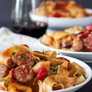 Tomato Pappardelle Pasta with Italian Sausage and Peppers.