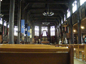 Photo: The interior further reflects the all-timber construction of the church.