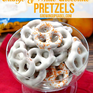 Orange White Chocolate Covered Pretzels