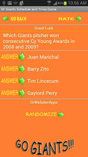 Schedule and Trivia Game for SF Giants fans screenshots 4