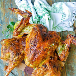 Roast Spatchcocked Turkey With Herb Butter.