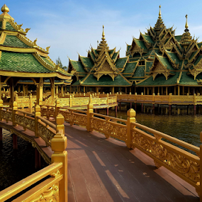 Pavilion of the Enlightened  by Stephanie Veronique - Buildings & Architecture Other Exteriors ( gold, pond, pavilion, buddhist, ancient city, thai, water, botanic garden, architecture, outdoor museum )
