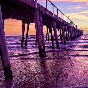 Sunset Jetty by Deb Thomas - Instagram & Mobile iPhone ( water, sunset, sea, seascape, jetty,  )