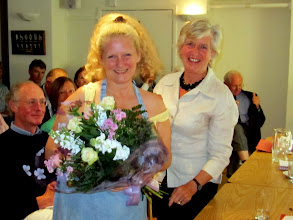 Photo: Claire Harrison receives our deepest thanks for her management of the Club Restaurant