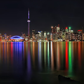 Rainbow City by Roman Mordashev - City,  Street & Park  Skylines ( view from central island, skyline, rainbow city, night view, canada, colorful, night lights, toronto, night city, night skyline, landscape, rainbow )