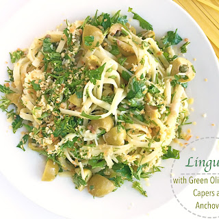 Linguine with Green Olive Sauce, Capers and Anchovies