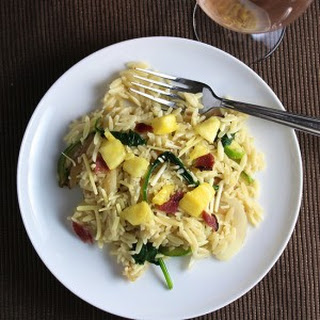 Veggie Orzo with Bacon and Pineapple