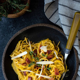 Creamy Butternut Squash Alfredo with Maple Glazed Bacon Recipe